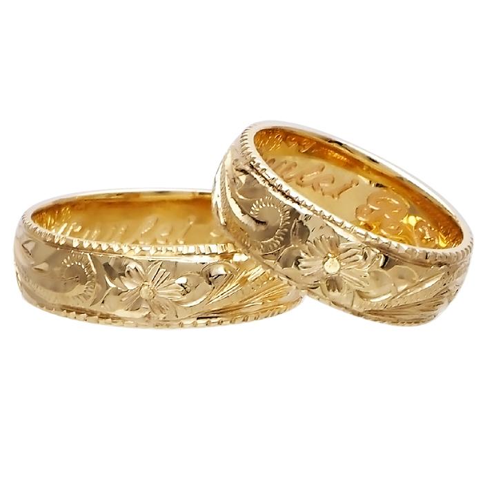 ハワイアンジュエリー リング 指輪 オーダーメイド 14金バレル オーダーメイド ペアリング特価セット! 6mm幅 1.5mm基本の厚み ハワイ製 手彫りリング メンズ レディース 結婚指輪 マリッジリング ウェディングリング 2号-28号