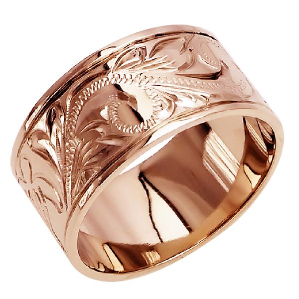 ハワイアンジュエリー リング 指輪 オーダーメイド フラットリング重厚な立体感2mm厚 幅10mm 14K ゴールド ピンクゴールド ハワイ製 手彫りリング メンズ レディース 結婚指輪 マリッジリング ウェディングリング 2号-28号