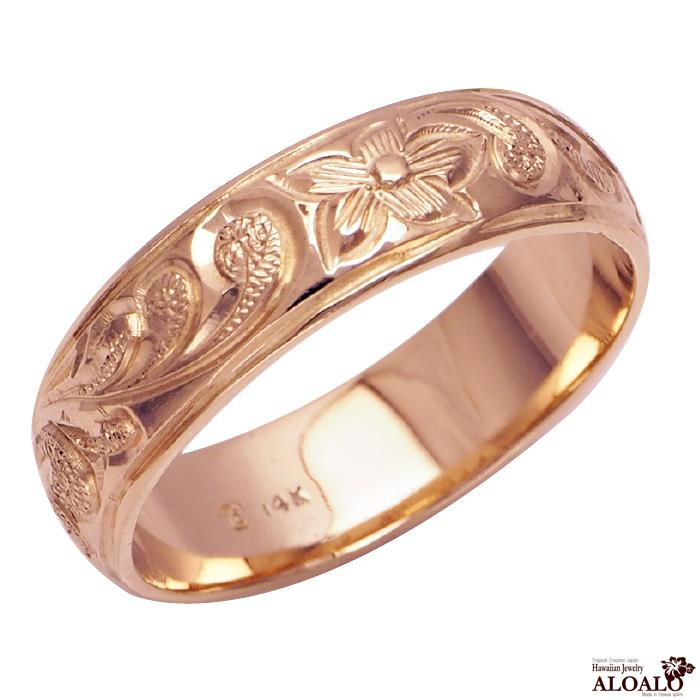 ハワイアンジュエリー リング 指輪 オーダーメイド 重厚な立体感2mm厚 幅6mm 14K ゴールド ピンクゴールド バレルリング ハワイ製 手彫りリング メンズ レディース 結婚指輪 マリッジリング ウェディングリング 2号-28号