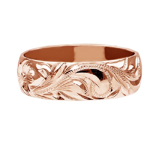 ハワイアンジュエリー リング 指輪 オーダーメイド 重厚な立体感2mm厚 幅6mm 14K ゴールド ピンクゴールド バレルリング ハワイ製 手彫りリング メンズ レディース 結婚指輪 マリッジリング ウェディングリング 2号 28号HW29IYED