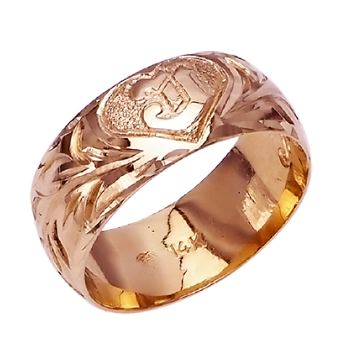 ハワイアンジュエリー リング 指輪 オーダーメイド 重厚な立体感2mm厚 幅10mm 14K ゴールド ピンクゴールド イニシャル バレルリング ハワイ製 手彫りリング メンズ レディース 結婚指輪 マリッジリング ウェディングリング 2号-28号