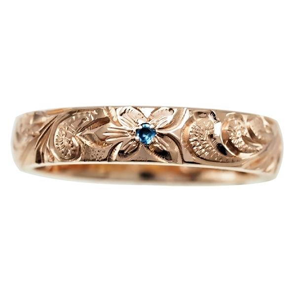 ハワイアンジュエリー リング 指輪 オーダーメイド しっかりした1.75mm厚 幅4mm 14K ゴールド ピンクゴールド バレルリング ハワイ製 手彫りリング メンズ レディース 結婚指輪 マリッジリング ウェディングリング 2号-28号