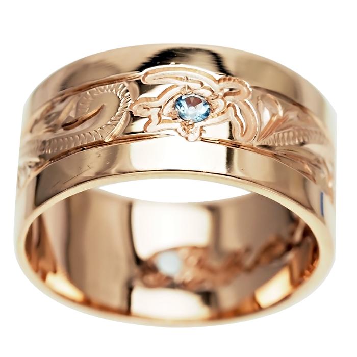 ハワイアンジュエリー リング 指輪 オーダーメイド 重厚な立体感2mm厚 幅10mm 14K ゴールド ピンクゴールド フラットリング ハワイ製 手彫りリング メンズ レディース 結婚指輪 マリッジリング ウェディングリング 2号-28号