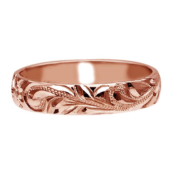 ハワイアンジュエリー リング 指輪 オーダーメイド お手軽な1.25mm厚 幅4mm 14K ゴールド ピンクゴールド バレルリング ハワイ製 手彫りリング メンズ レディース 結婚指輪 マリッジリング ウェディングリング 2号-28号