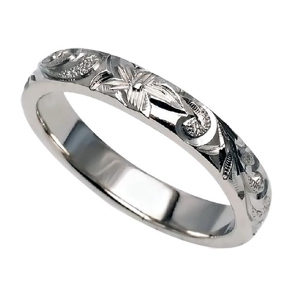 ハワイアンジュエリー リング 指輪 オーダーメイド 1.75mm厚 幅3mm プラチナ950 バレルリング ハワイ製 手彫りリング メンズ レディース 結婚指輪 マリッジリング ウェディングリング 2号-28号