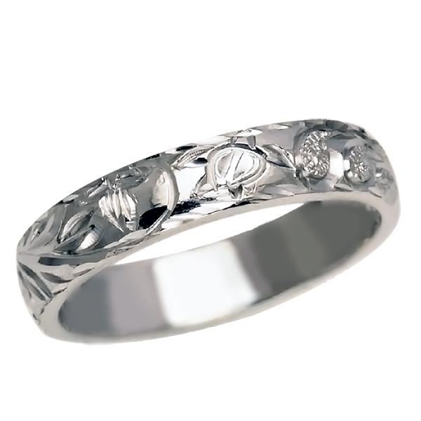 ハワイアンジュエリー リング 指輪 オーダーメイド 1.75mm厚 幅4mm プラチナ950 バレルリング メンズ レディース ハワイ製 手彫りリング 結婚指輪 ウェディングリング マリッジリング 0号-26号