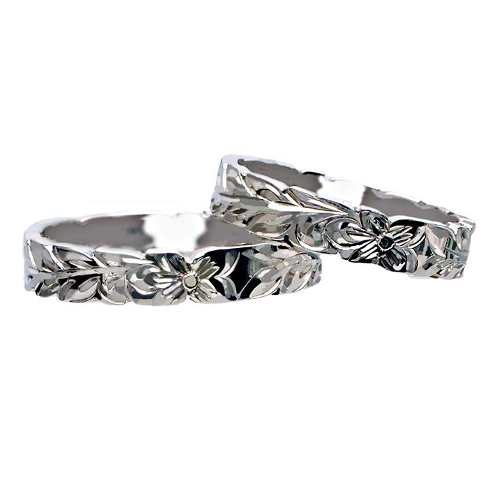 ハワイアンジュエリー リング 指輪 オーダーメイド 1.5mm厚 幅4mm プラチナ950 フラット ペアリング ハワイ製 手彫りリング メンズ レディース 結婚指輪 マリッジリング ウェディングリング 2号-28号