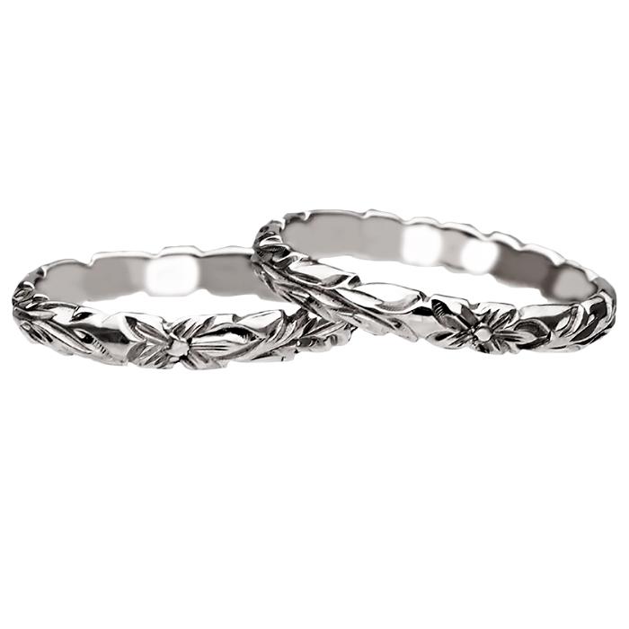 ハワイアンジュエリー リング 指輪 オーダーメイド 1.75mm厚 幅3mm プラチナ950 バレル ペアリング ハワイ製 手彫りリング メンズ レディース 結婚指輪 マリッジリング ウェディングリング 2号-28号