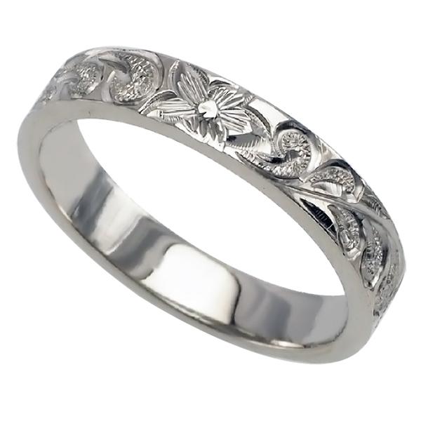 ハワイアンジュエリー リング 指輪 オーダーメイド 1.25mm厚 幅4mm プラチナ フラットスクロールリング ハワイ製 手彫りリング メンズ レディース 結婚指輪 マリッジリング ウェディングリング 2号-28号