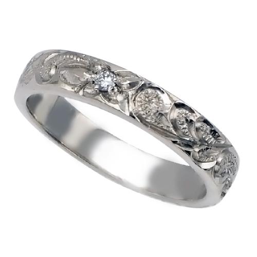 ハワイアンジュエリー リング 指輪 オーダーメイド 1.5mm厚 幅4mm プラチナ フラットダイヤモンドリング ハワイ製 手彫りリング メンズ レディース 結婚指輪 マリッジリング ウェディングリング 2号-28号