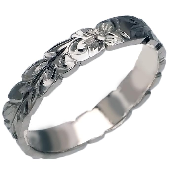 ハワイアンジュエリー リング 指輪 オーダーメイド 1.25mm厚 幅4mm プラチナ フラットマイレリング ハワイ製 手彫りリング メンズ レディース 結婚指輪 マリッジリング ウェディングリング 2号-28号