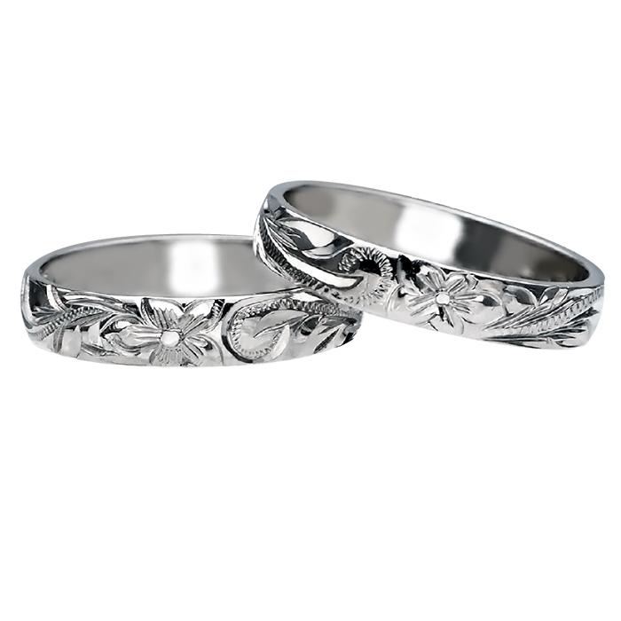 ハワイアンジュエリー リング 指輪 オーダーメイド 1.5mm厚 幅4mm プラチナ バレルスクロール ウェディング リング ハワイ製 手彫りリング メンズ レディース 結婚指輪 マリッジリング ウェディングリング 2号-28号