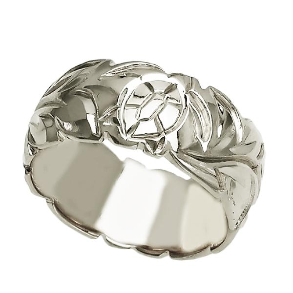 ハワイアンジュエリー リング 指輪 オーダーメイド バレルリング 重厚な立体感2mm厚 幅10mm 14K ゴールド ホワイトゴールド ハワイ製 手彫りリング メンズ レディース 結婚指輪 マリッジリング ウェディングリング 2号-28号
