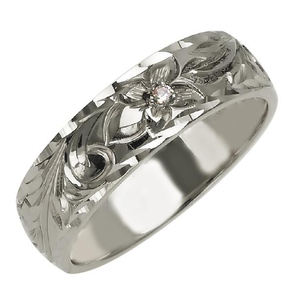 ハワイアンジュエリー リング 指輪 オーダーメイド しっかりした1.75mm厚 幅6mm 14K ゴールド ホワイトゴールド ダイヤモンド バレルリングハワイ製 手彫りリング メンズ レディース 結婚指輪 マリッジリング ウェディングリング 2号-28号