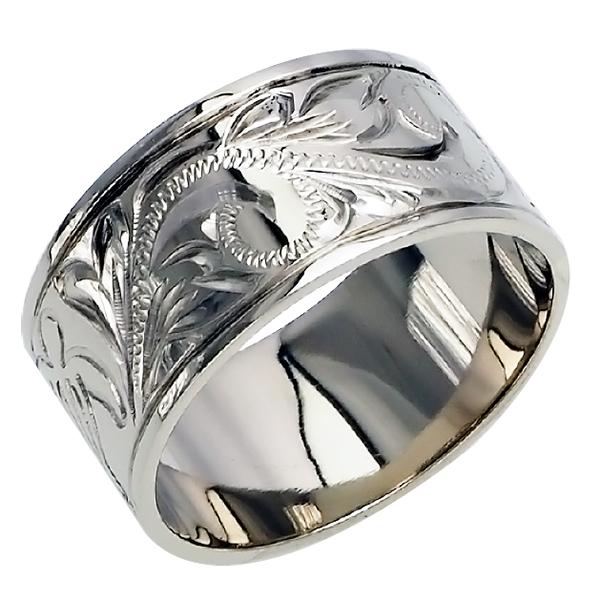 ハワイアンジュエリー リング 指輪 オーダーメイド しっかりした1.5mm厚 幅10mm 14K ゴールド ホワイトゴールド フラットリング ハワイ製 手彫りリング メンズ レディース 結婚指輪 マリッジリング ウェディングリング 2号-28号