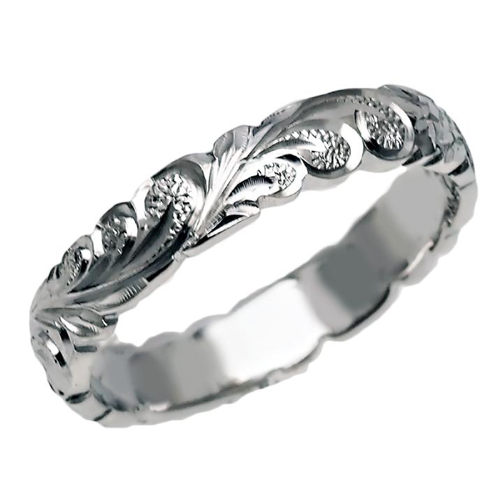 ハワイアンジュエリー リング 指輪 オーダーメイド 重厚な立体感2mm厚 幅4mm 14K ゴールド ホワイトゴールド バレルリング ハワイ製 手彫りリング メンズ レディース 結婚指輪 マリッジリング ウェディングリング 2号-28号