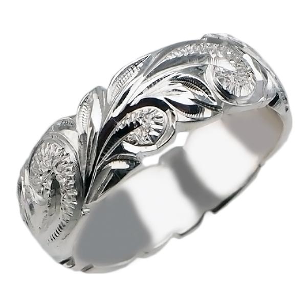 ハワイアンジュエリー リング 指輪 オーダーメイド 重厚な立体感2mm厚 幅6mm 14K ゴールド ホワイトゴールド ハワイ製 手彫りリング メンズ レディース 結婚指輪 マリッジリング ウェディングリング 2号-28号 バレルリング