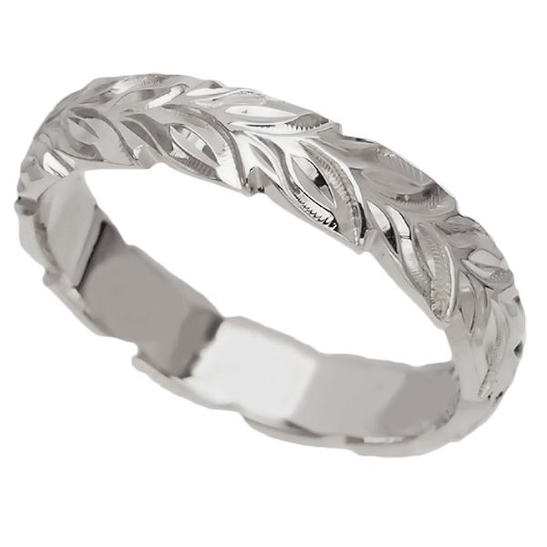 ハワイアンジュエリー リング 指輪 オーダーメイド 重厚な立体感2mm厚 幅6mm 14K ゴールド ホワイトゴールド ハートインイニシャル バレルリング ハワイ製 手彫りリング メンズ レディース 結婚指輪 マリッジリング ウェディングリング 2号-28号