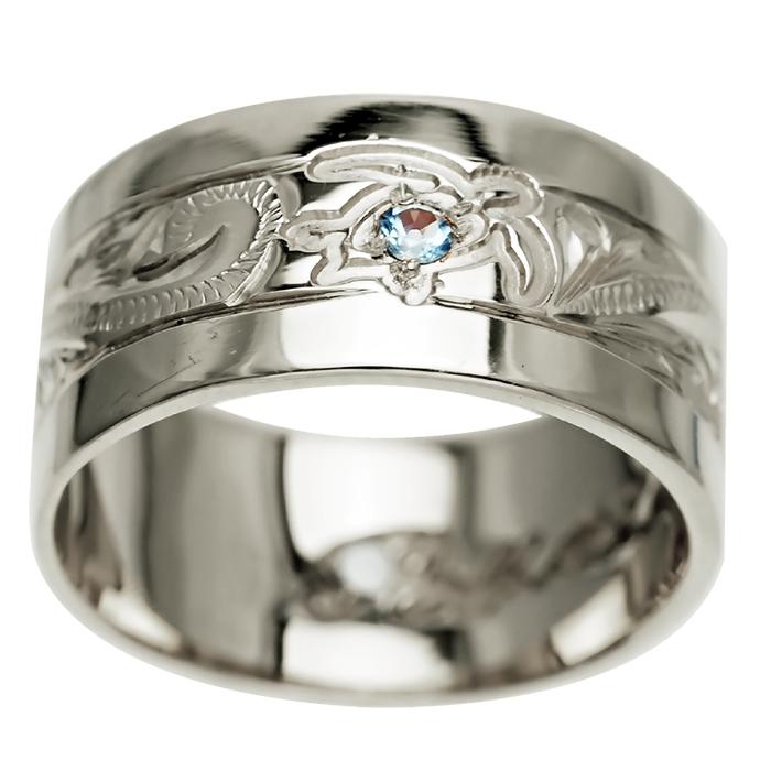 ハワイアンジュエリー リング 指輪 オーダーメイド 重厚な立体感2mm厚 幅10mm 14K ゴールド ホワイトゴールド フラットリング ハワイ製 手彫りリング メンズ レディース 結婚指輪 マリッジリング ウェディングリング 2号-28号