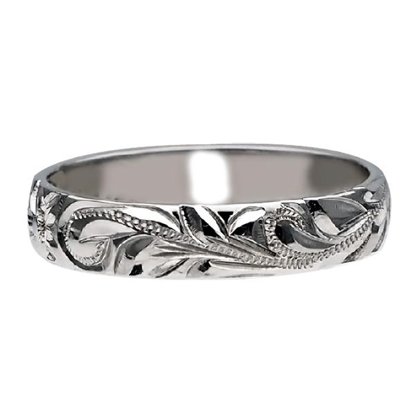 ハワイアンジュエリー リング 指輪 オーダーメイド お手軽な1.25mm厚 幅4mm 14K ゴールド ホワイトゴールド バレルリング ハワイ製 手彫りリング メンズ レディース 結婚指輪 マリッジリング ウェディングリング 2号-28号