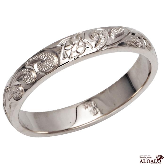 ハワイアンジュエリー リング 指輪 オーダーメイド 1.5mm厚 幅4mm 14K ゴールド ホワイトゴールド バレルリング ハワイ製 手彫りリング メンズ レディース 結婚指輪 マリッジリング ウェディングリング 2号-28号