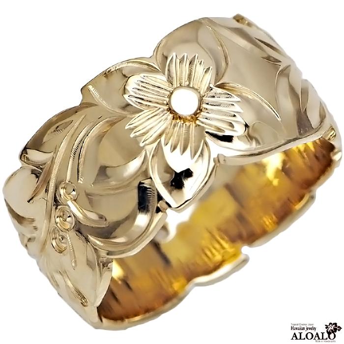 ハワイアンジュエリー リング 指輪 オーダーメイド バレルリング 1.5mm厚 幅10mm 14K ゴールド イエローゴールド ハワイ製 手彫りリング メンズ レディース 結婚指輪 マリッジリング ウェディングリング 2号-28号