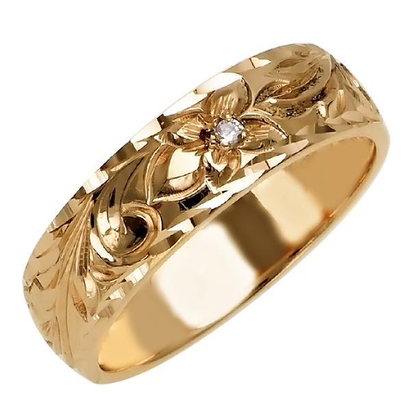 ハワイアンジュエリー リング 指輪 オーダーメイド 1.5mm厚 幅6mm 14K ゴールド イエローゴールド ダイヤモンド バレルリングハワイ製 手彫りリング メンズ レディース 結婚指輪 マリッジリング ウェディングリング 2号-28号