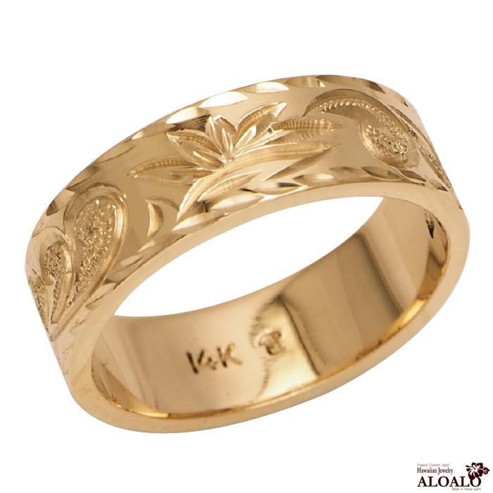 ハワイアンジュエリー リング 指輪 オーダーメイド フラットリング お手軽な1.0mm厚 幅6mm 14K ゴールド イエローゴールド ハワイ製 手彫りリング メンズ レディース 結婚指輪 マリッジリング ウェディングリング 2号-28号
