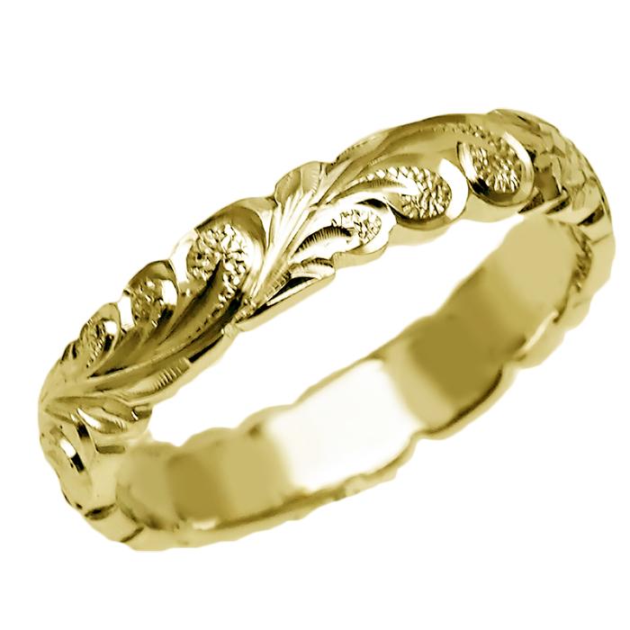 ハワイアンジュエリー リング 指輪 オーダーメイド 重厚な立体感2mm厚 幅4mm 14K ゴールド イエローゴールド バレルリング ハワイ製 手彫りリング メンズ レディース 結婚指輪 マリッジリング ウェディングリング 2号-28号