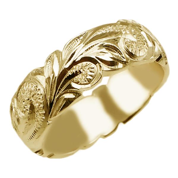 ハワイアンジュエリー リング 指輪 オーダーメイド 重厚な立体感2mm厚 幅6mm 14K ゴールド イエローゴールド ハワイ製 手彫りリング メンズ レディース 結婚指輪 マリッジリング ウェディングリング 2号-28号 バレルリング