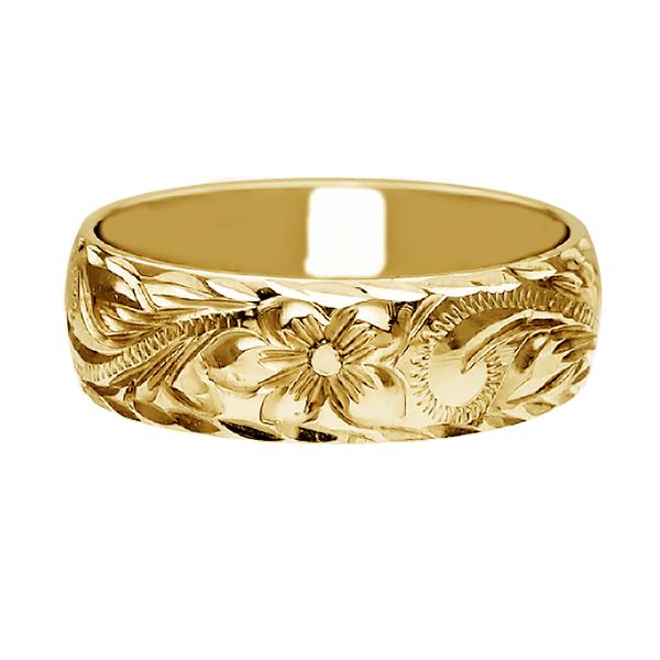 ハワイアンジュエリー リング 指輪 オーダーメイド お手軽な1.25mm厚 幅6mm 14K ゴールド イエローゴールド バレルリング ハワイ製 手彫りリング メンズ レディース 結婚指輪 マリッジリング ウェディングリング 2号-28号