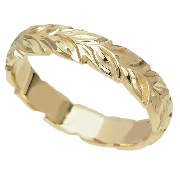 ハワイアンジュエリー リング 指輪 オーダーメイド 重厚な立体感2mm厚 幅6mm 14K ゴールド イエローゴールド ハートインイニシャル バレルリング ハワイ製 手彫りリング メンズ レディース 結婚指輪 マリッジリング ウェディングリング 2号-28号