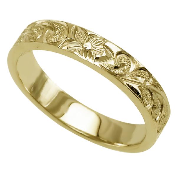 ハワイアンジュエリー リング 指輪 オーダーメイド お手軽な1.0mm厚 幅4mm 14K ゴールド イエローゴールド フラットリング ハワイ製 手彫りリング メンズ レディース 結婚指輪 マリッジリング ウェディングリング 2号-28号