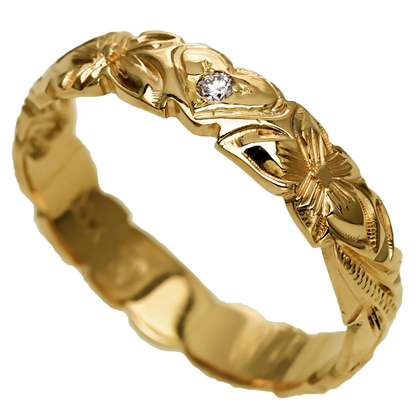 ハワイアンジュエリー リング 指輪 オーダーメイド お手軽な1.25mm厚 幅4mm 14K ゴールド イエローゴールド ハート バレルリング ハワイ製 手彫りリング メンズ レディース 結婚指輪 マリッジリング ウェディングリング 2号-28号