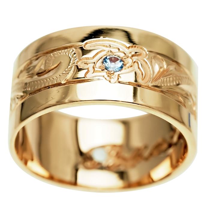 ハワイアンジュエリー リング 指輪 オーダーメイド 重厚な立体感2mm厚 幅10mm 14K ゴールド イエローゴールド フラットリング ハワイ製 手彫りリング メンズ レディース 結婚指輪 マリッジリング ウェディングリング 2号-28号