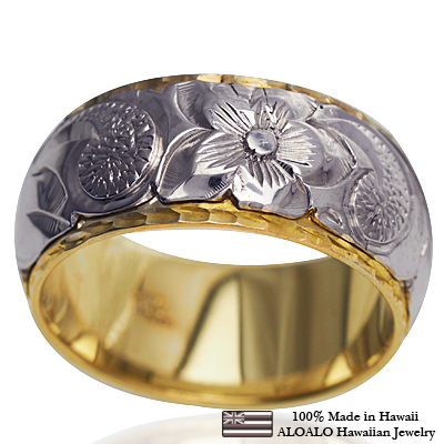 【刻印無料 ギフトラッピング無料】2mm厚の本格オーダー2トーンハワイアンリング ハワイアンジュエリー リング 指輪 オーダーメイド 幅10mm 14K ゴールド 2トーンリング イエローホワイトゴールド ハワイ製 手彫りリング メンズ レディース 結婚指輪 マリッジリング ウェディングリング 2号-28号
