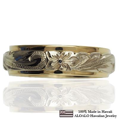 【刻印無料 ギフトラッピング無料】2mm厚の本格オーダー2トーンハワイアンリング ハワイアンジュエリー リング 指輪 オーダーメイド 幅6mm 14K ゴールド 2トーンリング ピンクホワイトゴールド ハワイ製 手彫りリング メンズ レディース 結婚指輪 マリッジリング ウェディングリング 2号-28号