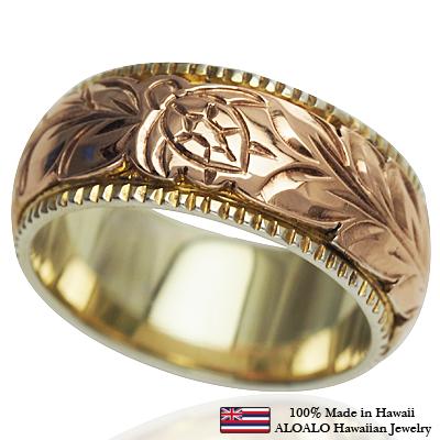 ハワイアンジュエリー リング 指輪 オーダーメイド 幅8mm 14K ゴールド 2トーンリング ピンクホワイトゴールド ハワイ製 手彫りリング メンズ レディース 結婚指輪 マリッジリング ウェディングリング 2号-28号