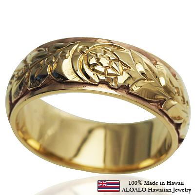 ハワイアンジュエリー リング 指輪 オーダーメイド 幅8mm 14K ゴールド 2トーンリング グリーンホワイトゴールド ハワイ製 手彫りリング メンズ レディース 結婚指輪 マリッジリング ウェディングリング 2号-28号