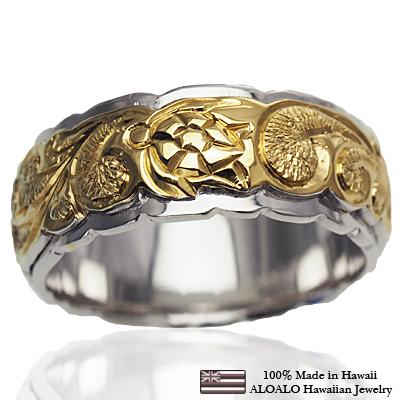 ハワイアンジュエリー リング 指輪 オーダーメイド 幅8mm 14K ゴールド 2トーンリング ピンクホワイトゴールド バレルリング ハワイ製 手彫りリング メンズ レディース 結婚指輪 マリッジリング ウェディングリング 2号-28号