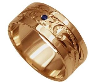 ハワイアンジュエリー リング 指輪 オーダーメイド しっかりした1.5mm厚 幅8mm 14K ゴールド ピンクゴールド ブラックダイヤ入り スペシャルプレーンリング ハワイ製 手彫りリング メンズ レディース 結婚指輪 マリッジリング ウェディングリング 2号-28号