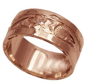 ハワイアンジュエリー リング 指輪 オーダーメイド お手軽な1.0mm厚 幅8mm 14K ゴールド ピンクゴールド ダイヤ入り スペシャルプレーンフラットリング ハワイ製 手彫りリング メンズ レディース 結婚指輪 マリッジリング ウェディングリング 2号-28号