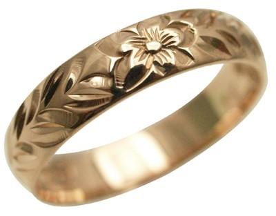 ハワイアンジュエリー リング 指輪 オーダーメイド お手軽な1.25mm厚 幅8mm 14K ゴールド ピンクゴールド チューブローズバレルリング ハワイ製 手彫りリング メンズ レディース 結婚指輪 マリッジリング ウェディングリング 2号-28号