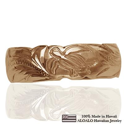ハワイアンジュエリー リング 指輪 オーダーメイド しっかりした1.75mm厚 幅6mm 14K ゴールド ピンクゴールド カットアウトバレルリング ハワイ製 手彫りリング メンズ レディース 結婚指輪 マリッジリング ウェディングリング 2号-28号