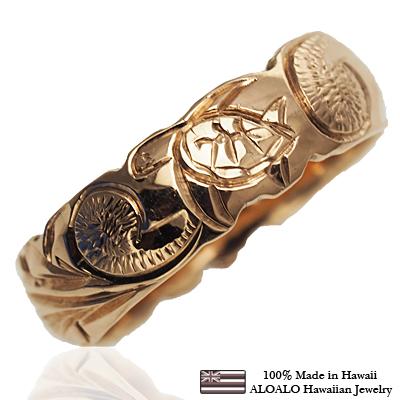 【刻印無料 ギフトラッピング無料】安心の1.5mm厚 14金ピンクゴールド本格オーダーメイドリング ハワイアンジュエリー リング 指輪 オーダーメイド 1.5mm厚 幅6mm 14K ゴールド ピンクゴールド バレルリング ハワイ製 手彫りリング メンズ レディース 結婚指輪 マリッジリング ウェディングリング 2号-28号