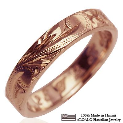 【刻印無料 ギフトラッピング無料】フラット1.5mm厚 14金ピンクゴールド本格オーダーリング ハワイアンジュエリー リング 指輪 オーダーメイド しっかりした1.5mm厚 幅4mm 14K ゴールド ピンクゴールド フラットリング ハワイ製 手彫りリング メンズ レディース 結婚指輪 マリッジリング ウェディングリング 2号-28号