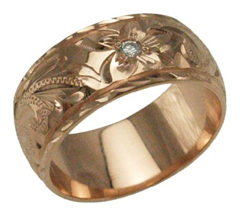 ハワイアンジュエリー リング 指輪 オーダーメイド 重厚な立体感2mm厚 幅8mm 14K ゴールド ピンクゴールド ダイヤモンドバレルリング ハワイ製 手彫りリング メンズ レディース 結婚指輪 マリッジリング ウェディングリング 2号-28号:ハワイアンジュエリー アロアロ