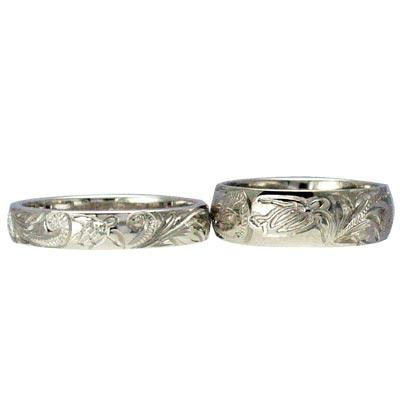 ハワイアンジュエリー リング 指輪 オーダーメイド 1.5mm厚 幅4mm / 幅8mm プラチナバレル ペアリング ハワイ製 手彫りリング メンズ レディース 結婚指輪 マリッジリング ウェディングリング 2号-28号