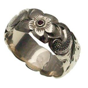 ハワイアンジュエリー リング 指輪 オーダーメイド お手軽な1.25mm厚 幅8mm 14K ゴールド ホワイトゴールド ブルーダイヤモンド バレルリング ハワイ製 手彫りリング メンズ レディース 結婚指輪 マリッジリング ウェディングリング 2号-28号