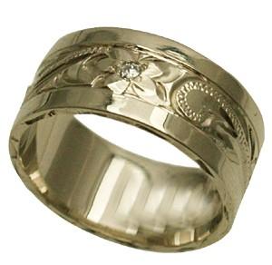 ハワイアンジュエリー リング 指輪 オーダーメイド お手軽な1.0mm厚 幅8mm 14K ゴールド ホワイトゴールド ハワイ製 ダイヤ入り スペシャルプレーンリング 手彫りリング メンズ レディース 結婚指輪 マリッジリング ウェディングリング 2号-28号